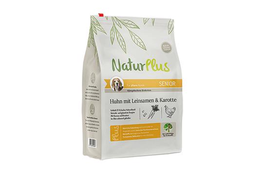 NaturPlus Hund Trockennahrung Senior Huhn Leinsamen Karotte