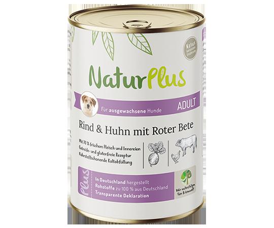 NaturPlus Hund Nassnahrung Adult Rind Huhn Roter Bete