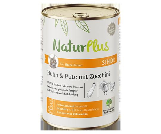 NaturPlus Katze Nassnahrung Senior Huhn Pute Zucchini