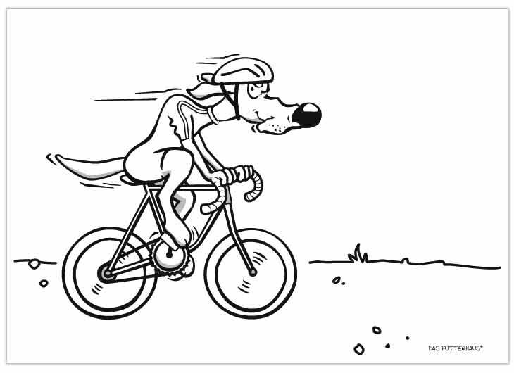 Malvorlage Hund auf dem Fahrrad