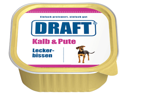 DRAFT Hundenassfutter Schale Kalb-Pute
