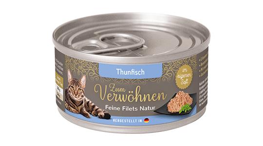 Zum Verwoehnen - Nassfutter für ausgewachsene Katzen - Feine Filets Natur im eigenen Saft - Thunfisch