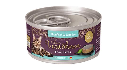 Zum Verwoehnen - Nassfutter für ausgewachsene Katzen - Feine Filets in Gelee - Thunfisch und Gemuese
