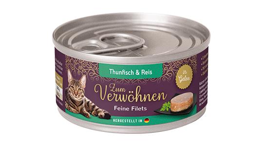 Zum Verwoehnen - Nassfutter für ausgewachsene Katzen - Feine Filets in Gelee - Thunfisch und Reis