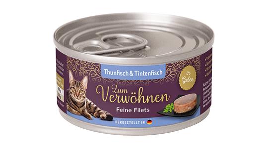 Zum Verwoehnen - Nassfutter für ausgewachsene Katzen - Feine Filets in Gelee - Thunfisch und Tintenfisch