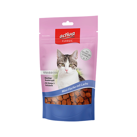 activa CLASSIC Knabbersnacks für Katzen - Mini-Fische mit Lachs 60g