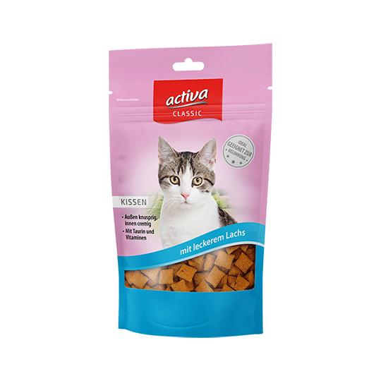 activa CLASSIC Knusperkissen für Katzen mit leckerem Lachs 60g