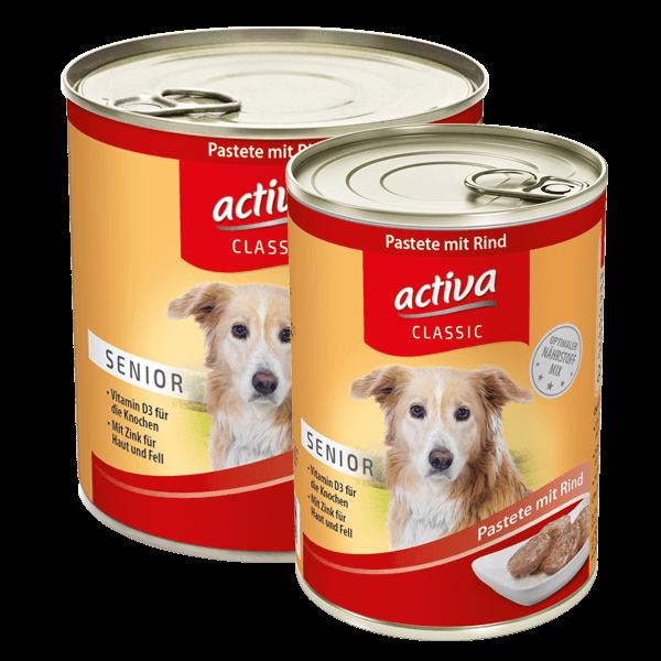 activa CLASSIC Hund Dose Senior Pastete Rind
