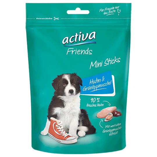 Snacks fuer Hunde - activa Friends Mini Sticks – Huhn und Gruenlippmuschel