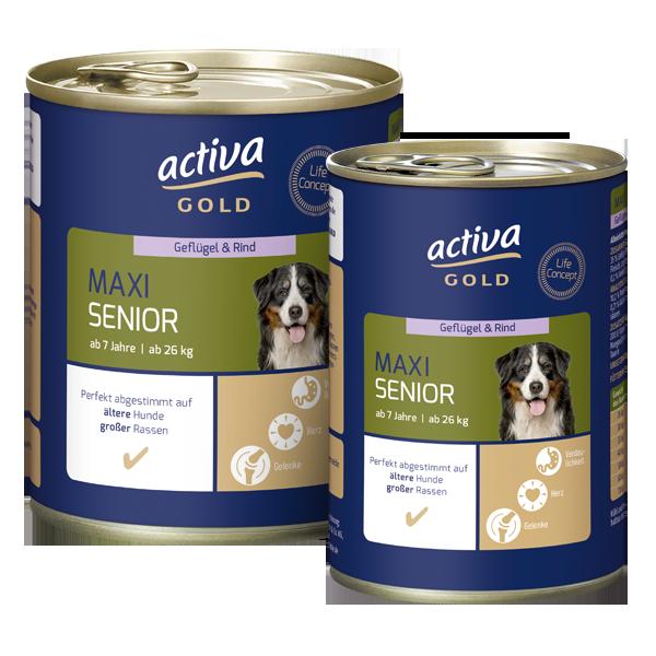 Activa Gold Hund Nassnahrung Maxi Senior Geflügel Rind