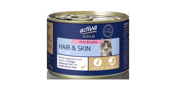 activa gold Katze Nassnahrung Hair Skin Huhn Lachs