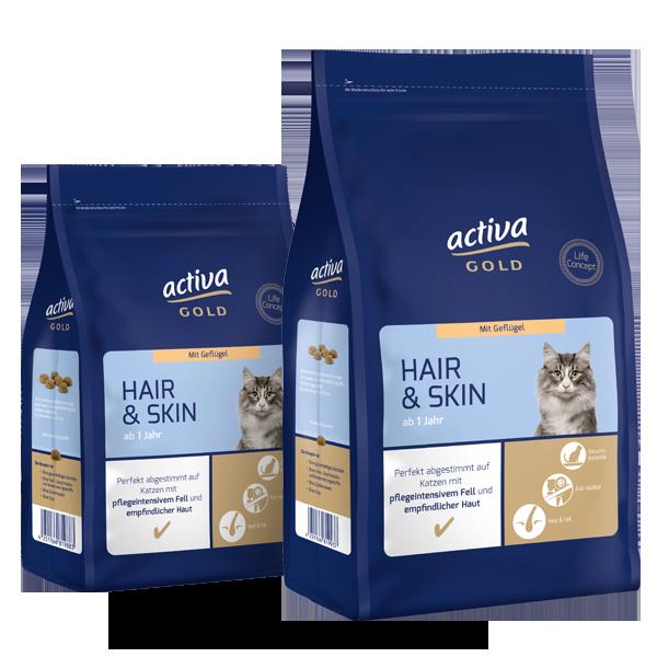 activa gold Katze Trockennahrung Hair Skin Geflügel